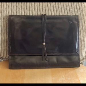 Brown Leather Accordion Clutch